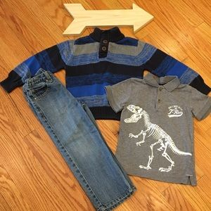 Toughskins Bundle Jeans, Sweater, & Dinosaur Polo